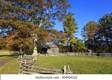 Puckett Cabin at milepost 189.9 in Carroll County, Virginia, on the Blue Ridge Parkway in the fall