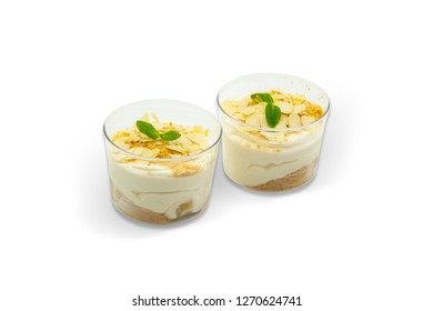 Pudding with Banana with Hazelnut and Mint, White Background, with isolated clipping path included (TR: Muzlu Puding Findik Parcacikli)