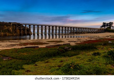 Pudding Creek Trestle, Fort Braggs Historic Bridge, overview on a cloudless morning, low tide