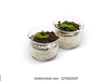 Pudding with Dark Biscuits and Chocolate Brown Betty, White Background, with isolated clipping path included (TR: Oreolu Puding Cikolata Parcacikli)