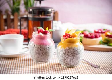 pudding kinoa with fruit puree. quinoa pudding