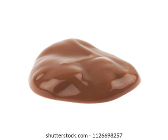 Puddle of chocolate pudding isolated over the white background