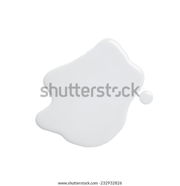 The puddle of an oil paint spill isolated over the white background, top view above