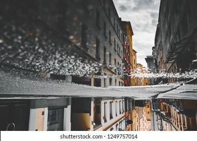 puddle on the asphalt. Munich, Germany