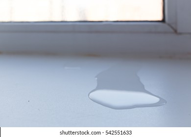 puddle of water under the window