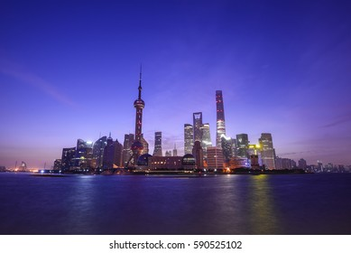 Pudong district,Shanghai,China,view from the Bund waterfront area