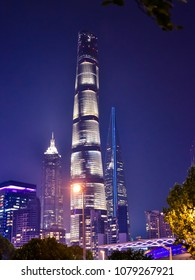 Pudong, Shanghai/China - Apr. 24, 2018: Evening view of the Shanghai Tower, a 128-story mega tall skyscraper in Pudong, Shanghai, China.