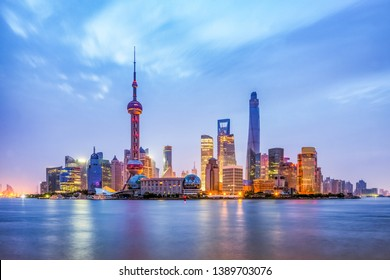 Pudong skyline with Oriental Pearl tower, Shanghai, China