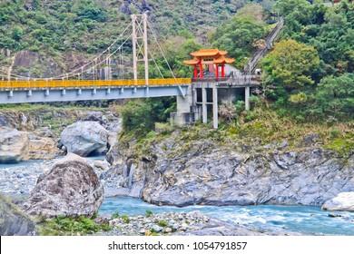 pudu bridge in taroko national park hualien taiwan