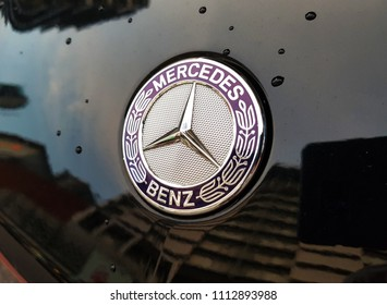 Pudu, MY - MARCH 31, 2018: The logo of Mercedes Benz that made by high quality chromium, decorating at the head of Mercedes Benz new car.