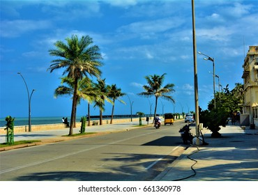 PUDUCHERRY, INDIA- 10th JUNE 2016: Street by the Promenade Beach during noon in Puducherry, India.