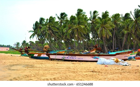 PUDUCHERRY, INDIA - 2 JULY 2016: Coconut trees and boats on the Paradise Beach, Pondicherry, Tamil Nadu, India