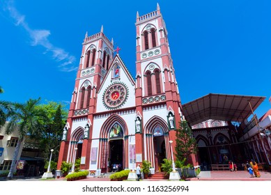 Puducherry, India - August 22, 2018 : Basilica of the Sacred Heart of Jesus at Podicherry India