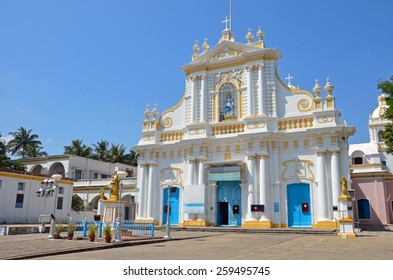 PUDUCHERRY, INDIA -FEBRUARY 7 2015: Our Lady of Immaculate Conception Cathedral was completed in 1791 and is dedicated to St. Peters and is the mother church for the Roman Catholic.