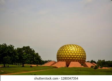 """Puducherry, India - September 30, 2017: """"Mantrimandir"""", a meditation centre in Auroville, Puducherry, India."""