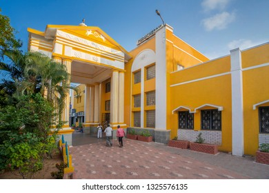 Puducherry, Pondicherry, February,19,2019: Colorful modern facade with entrance to Railway Station building for passengers, Puducherry, India,Asia