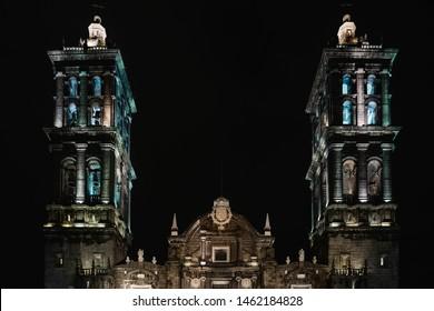 Puebla Cathedral, Puebla City / Mexico - July 18, 2016 : Puebla's Cathedral at night