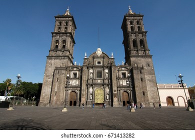 PUEBLA CITY, PUEBLA, MEXICO - 2012: The Puebla Cathedral, in the city's historic center,  is a colonial cathedral, and is the see of the Roman Catholic Archdiocese of Puebla de los Angeles.