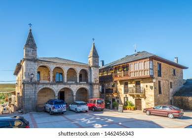 PUEBLA DE SANABRIA,SPAIN - MAY 14,2019 - Mayor place with Town hall building in Puebla de Sanabria. Puebla de Sanabria is a small town located in the north-western part of the province of Zamora.