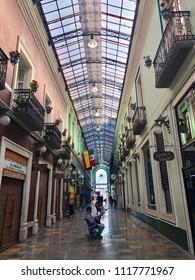 PUEBLA DE ZARAGOZA, MEXICO - June 2, 2018: The interior of the covered market 'Pasaje Ayuntamiento' with many boutique stores and galleries in Puebla.