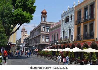 Puebla de Zaragoza/Mexico- 04/12/2013: A look around the historic Zocalo of Puebla de Zaragoza.