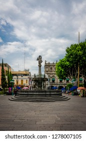 Puebla, Mexico - 05/25/2017: Puebla's downtown fountain