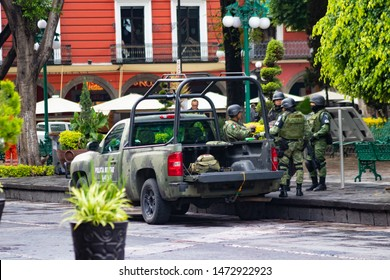 Puebla, Mexico: 08-07-2019:  Mexican military guarding the main square of Puebla due to growing insecurity
