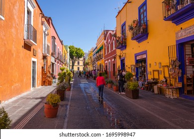 PUEBLA, MEXICO - 15 FEBRUARY, 2020: Morning streets in Puebla - one of the five most important Spanish colonial cities in the country. Famous history and architectural styles.