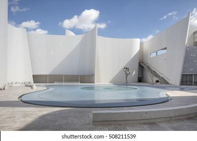 Puebla, Mexico - August 29, 2016: Baroque Museum - Museo Internacional del Barroco; Acclaimed Japanese architect Toyo Ito has designed a museum dedicated to baroque art.