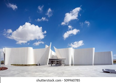 Puebla, Mexico - August 29, 2016: Baroque Museum - Museo Internacional del Barroco; Acclaimed Japanese architect Toyo Ito has designed a museum dedicated to baroque art.