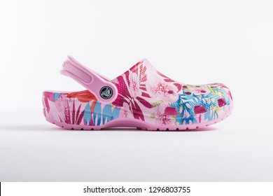 PUEBLA, MEXICO - JANUARY 23, 2019: CROCS comfortable shoes for women isolated on white background - Image
