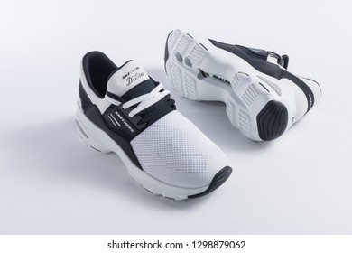 PUEBLA, MEXICO - JANUARY 29, 2019: SKECHERS comfortable shoes isolated on white background - Image