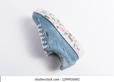 PUEBLA, MEXICO - JANUARY 29, 2019: PEPE JEANS shoes on white background with shadows - Image