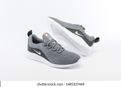 PUEBLA, MEXICO - JANUARY 29, 2019: NIKE shoes on white background with shadows