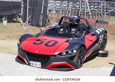 PUEBLA, MEXICO -  MARCH 02, 2019: Track day Event in the Autodrómo Miguel E. Abed. Vuhl 05 super car parked for show.