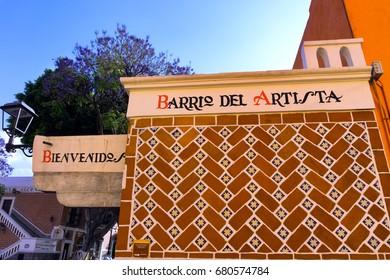 PUEBLA, MEXICO - MARCH 2: Building on the corner in the artists neighborhood in  Puebla, Mexico on March 2, 2017