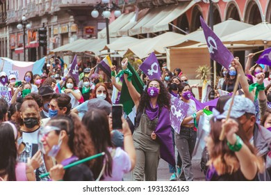 Puebla, Mexico - March 7, 2021: On the way to 8M, a feminist demonstration to commemorate International Women's Day, they demand the decriminalization of abortion in Puebla.