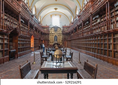 PUEBLA, MEXICO - NOV 28, 2016: The Biblioteca Palafoxiana is a library in Puebla, Mexico. Founded in 1646, it was the first public library in colonial Mexico and is considered the 1st in the Americas.