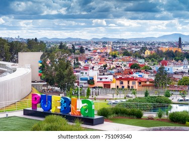 Puebla, Mexico - November 10, 2016: Aerial view of downtown Puebla, Mexico
