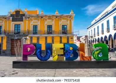 Puebla, Mexico - November 12, 2016: Sign Puebla at the street in Puebla, Mexico