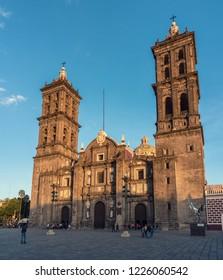 Puebla, Mexico - November 26, 2016: Puebla Cathedral in Puebla, Mexico