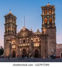 Puebla, Mexico - November 26, 2016: Puebla Cathedral at night in Puebla, Mexico