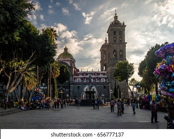 PUEBLA, MEXICO - Oct 16, 2016: Fountain and Puebla Cathedral at sunset - Puebla, Mexico