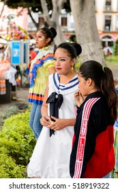 PUEBLA, MEXICO - OCT 30, 2016: Unidentified girl dressed for the Day of the Dead (Dia de los Muertos), national Mexican holiday, UNESCO Intangible Cultural Heritage of Humanity