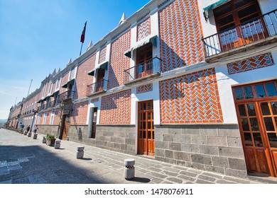 Puebla, Mexico-20 April, 2018: Colorful colonial Puebla streets in Zocalo historic city center