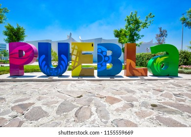 Puebla, Mexico-20 April, 2018: Welcome sign in Puebla, Mexico