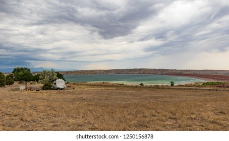 PUEBLO, CO, USA-7/15/18: Lake Pueblo State Park, with RV trailer.