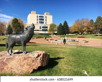 Pueblo, Colorado, USA – October 27, 2016: Library building and campus with students at Colorado State University, Pueblo