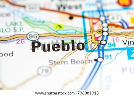 Pueblo Colorado Usa On Map Stock Photo Edit Now 796081915