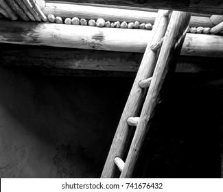 Pueblo Kiva Ladder - Black & White